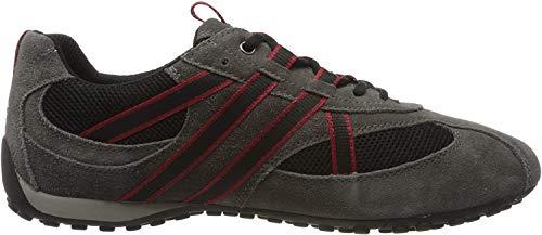 Geox U2207S Herren Sneakers Grey/Black/Red, EU 43