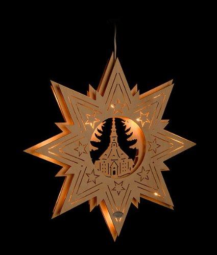 ERM Holzmanufaktur 3D Fensterbild Seiffener Kirche im Stern beleuchtetes Fensterbild aus Holz Weihnachtsdeko Weihnachten