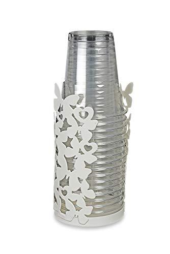 DISRAELI Porta Bicchieri in Ferro Bianco con Farfalle d8 x h16 cm