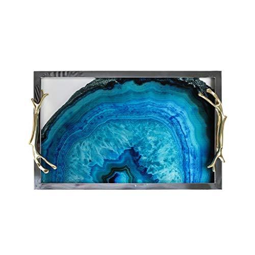 Luce Metallo Agata Modello Nordico Decorazione Vassoio Vassoio del tè tavolino di immagazzinaggio di monili di stoccaggio Sala Modello Arredamento