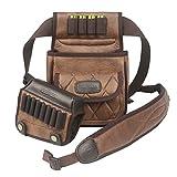 Tourbon PU Leather Cheek Riser Pad Shell Holder Cartridge Bag Adjustable Rifle Sling - Brown