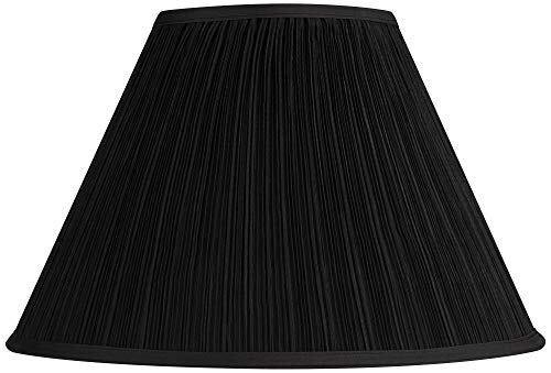 Black Mushroom Pleated Large Empire Lamp Shade 7 Top x 17 Bottom x 11 High x 11.5 Slant (Spider) Replacement with Harp and Finial - Springcrest