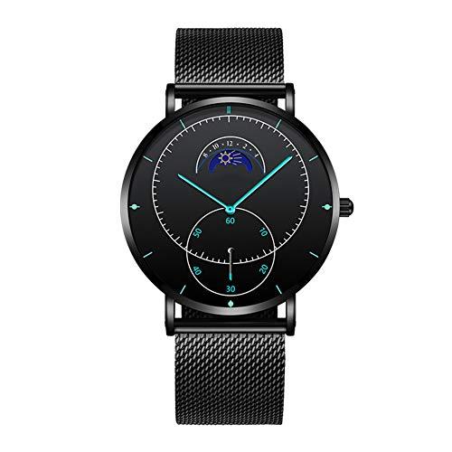 CETLFM Luxuriöse Herren-Armbanduhr, wasserdicht, Chronograph, leuchtend, kreativ, Stern-Monat-Design, schwarz
