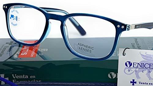 Blaulichtfilter lesebrille anti blaulicht. Computerbrille Professional Für herren damen gamer brille venice (Blau, 3.00)