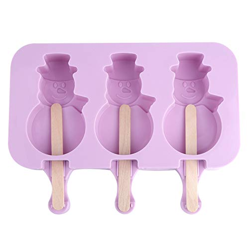 Popsicle Molds - Silicone DIY Ice Cream Maker Popsicle Lollie Mold Ice Cube Tray Pan Snow Man Type (3 Holtes) / Footprint (2 Holten) (Size : Snow Man Type(3 Cavities))
