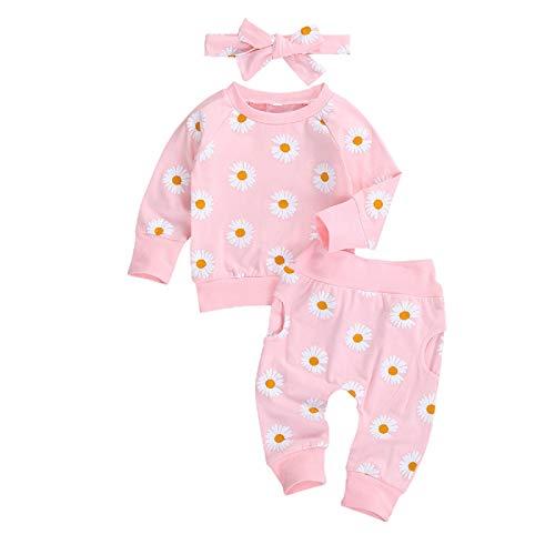 Mugoebu 0-24M Neugeborenes Baby Gänseblümchen Langarm Pullover Top+Hose+Stirnband 3-teiliges Kleidungsset , Rosa, 0-6 Monate (Herstellergröße: 70)
