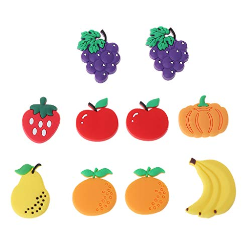 JIACUO 10 Stks Creatief Fruit Ontwerp Koelkast Magneten DIY Onderdelen Voor Kinderen Klein formaat Silicon Gel Magnetische Koelkast Magneet Magneten