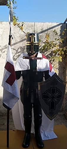 Tieetdye Cruzado caballero medieval en traje de armadura 6.5'H con escudo