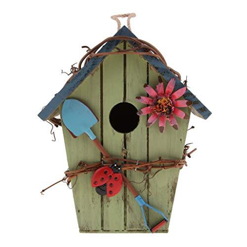 perfeclan Vogelhaus Nistkasten Vogelfutterhaus Wildvogelhaus aus Naturholz für Rotschwänzchen, Rotkehlchen usw. - D#