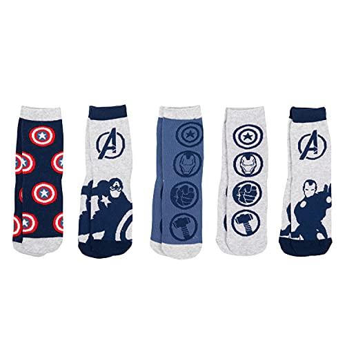 United Labels Marvel Avengers Jungen Kinder Socken Sneaker Kindersocken Grau (5er Pack) (31-34)