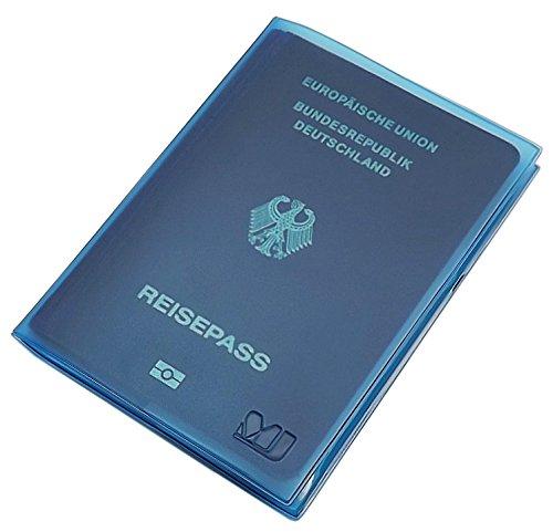 Reisepass Schutzhülle 2 Fächer MJ-Design-Germany in verschiedenen trendigen Farben Made in EU (Blau)