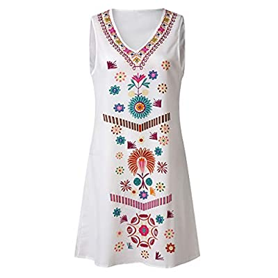 W-Fight Plus Size Women Boho Sleeveless V Neck Sundress Ladies Holiday Beach Dress Tops