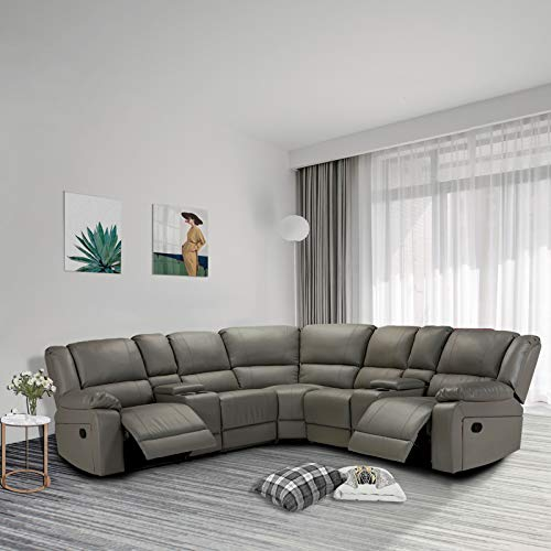 Pannow Symmertrical Reclining Sectional Sofa Sectional Sofa Power Motion Sofa Living Room Sofa Corner Sectional Sofa with Cup Holder, Grey Leather