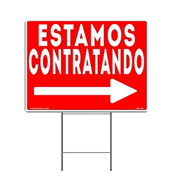 VIBE INK Large 24 x18  We are Hiring - Estamos Contratando - Spanish Now Hiring Yard Sign - Metal Stake Included - Waterproof Double Sided Made in America!