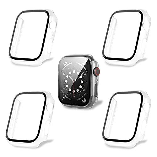 AOTUAO Custodia Compatibile con Apple Watch SE Series 6 5 4 40mm con Vetro Temperato, iWatch Cover Protettore Schermo e Pellicola Protettiva Case per Apple Watch,4 Pezzi Clear Clear Clear Clear