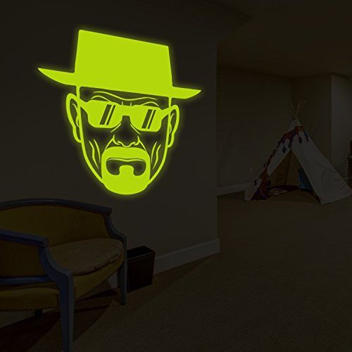 (160x 160cm) Glowing Vinyl Wand Aufkleber Breaking Bad Heisenberg mit Sonnenbrille/Glow in Dark Walter White Aufkleber/Leuchtziffern Wandbild + Gratis Aufkleber Geschenk macht.