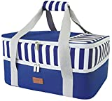 Double Deck Casserole Carrier: The whole exterior size 15.7 x 11.4 x 8.3inch (L x W x H). Upper compartment size: 15.7 x 11.4 x 3.5inch; Bottom compartment size: 15.7 x 11.4 x 4.7inch. Keeps Food Hot & Cold: The double casserole dish carrier with thi...