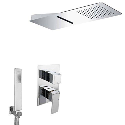 PaulGurkes Wasserfall Dusch Set Unterputz Duschsystem Regendusche Brauseset Komplett Duscheset mit Handbrause Tropendusche XXL Duschtempel eckig Luxusdusche UP-Montage Komplettduschsystem Messing