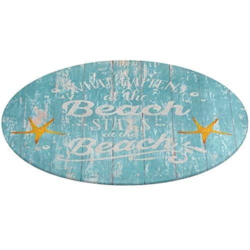 Alfombra de baño redonda, Happy Beach Life diciendo en madera de agua, antideslizante, absorbente de agua, para sala de estar, dormitorio, bañera, cocina, 61 cm