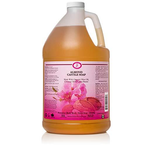 Carolina Almond Castile Soap Liquid – Skin-Softening Olive Oil Soap Organic Body Wash – Pure Castile Soap Almond Liquid Soap – Vegan Castille Soap Liquid (Almond, 1 gallon)
