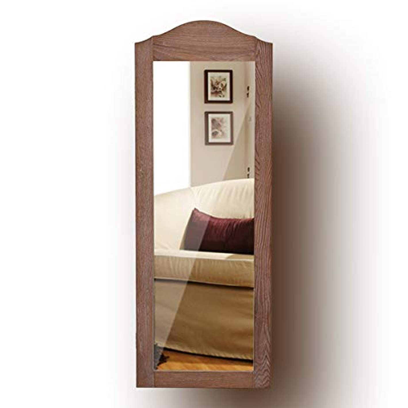 Giantex Jewelry Armoire Cabinet Wall Mounted with Mirror Rustic Full Length Mirrored Storage Organizer Multiple Shelves 10 Hooks, Bedroom Armoires Jewelry Cabinets (Natural Wood)