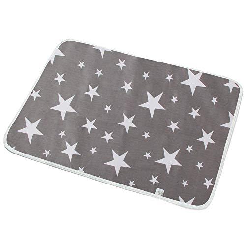 Geizland Protector de cama impermeable lavable y reutilizable para adultos, adultos mayores, niños, niños pequeños, 80 x 110 (estrella gris)