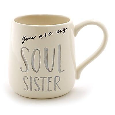 "Enesco Our Name Is Mud ""Soul Sister"" Stoneware Engraved Coffee Mug, 16 oz, Gray"