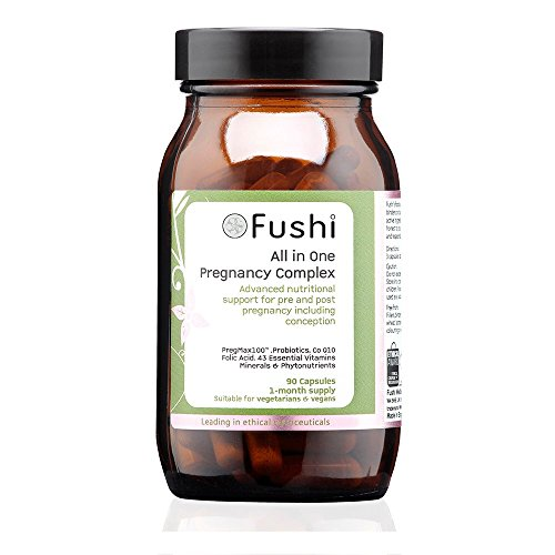 Fushi All in One Whole Food Pregnancy Complex Capsules, 90 Caps | Acid Folic, Vegan Omega 3, Calcium, Vitamin D & K2 | Best for Conception Support, Pregnancy, Nutrition Support |Vegan & Made in the UK