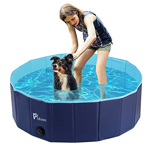 of dog bathings dec 2021 theres one clear winner Pidsen Upgraded Foldable Pet Swimming Pool Portable Dog Pool Kids Pets Dogs Cats Outdoor Bathing Tub Bathtub Water Pond Pool & Kiddie Pools ((100 x 30cm) 39.4'' D11'' H, Blue)