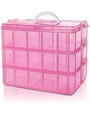 Belle Vous 3 Laags Stapelbare Roze Plastic Opslag Doos - Aanpasbare Compartiment Sleuven - Maximaal 30 Compartimenten - Opslag Container Voor het Opslaan van Speelgoed, Juwelen, Hobby en Kunst
