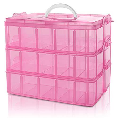 Aufbewahrungsbox mit 3 Ebenen Pink - Stapelbare Box mit 30 verstellbaren Trennern -Ordnungsbox - Kiste- H18cm x B24 x D15cm - Organiser/ Ordnungssystem für Perlen, Bastelzubehör, Spielzeug Accessoires