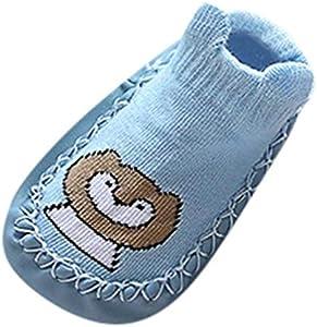 Zapatos de bebé, ASHOP Niña Niño Casuales Zapatillas del Otoño Invierno Flock Deporte Antideslizante del Zapatos Calcetines de Dibujos Animados Animal Slipper Boots 0-24 Meses (Azul,18-24 Meses)