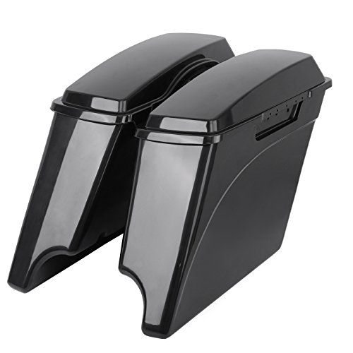 Ambienceo Unpainted Stretched Hard Saddle Bags Saddlebags with Lids For Harley Sportster Dyna Touring Glide for 1993-2013 Harley Touring FLH FLT Electra Glide Road king Ultra Street (4 inch)