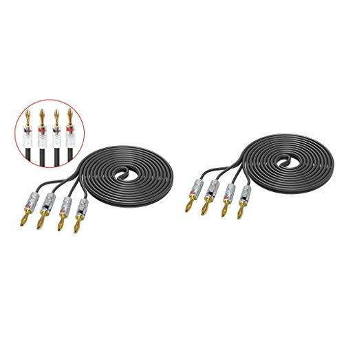 MagiDeal 2 Piezas de Cable de Altavoz de Fidelidad DIY Calibre 12 Pies 12 con Enchufes de Plátano 8pcs 4mm