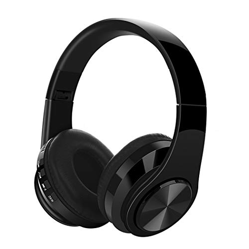 Bluetooth Headphones Over Ear, Hi-Fi Stereo Wireless Headset, Deep Bass, Foldable, Soft Memory-Protein Earmuffs, w/Built-in Mic Wired Mode PC/Cell Phones/TV