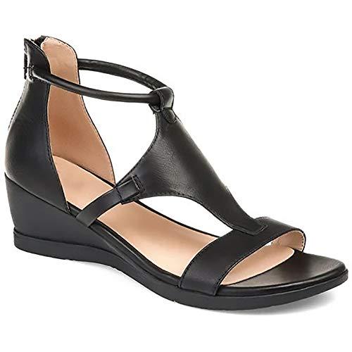 HHY-X Sandalias para mujer de piel con abertura en la punta abierta cuñas casuales de verano plataforma zapatos para caminar, negro, 38