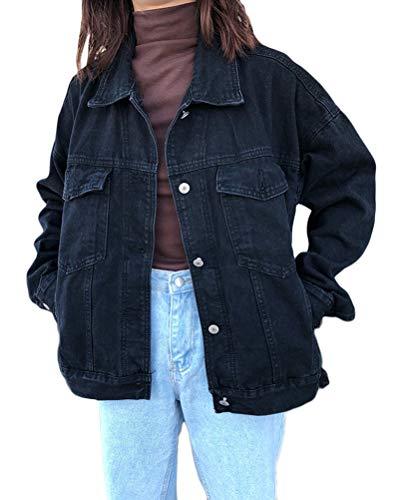 Minetom Camicia Donna Elegante Camicetta Manica Lunga Bluse Camicie A Quadri Blusa Casuale Taglie Forti Giacca Outwear Cappotto Cardigan F Nero X-Small