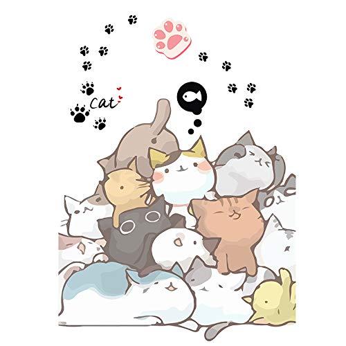 XIAMU Dibujos Animados Lindo Animal Ins Viento Pegatinas de Equipaje Dormitorio de los niños Armario refrigerador Decorado Pegatinas Grandes 16 Piezas