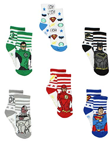 Justice League Toddler Boy's Athletic 6 pack Crew Socks with Grippers (4T-5T, White/Multi)