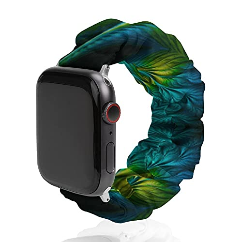 NiYoung Trippy Green Tie Dye Elastic Band for Apple Watch Bands 38mm 40mm 42mm 44mm Watch Strap Replacement Wrist Band for iWatch Series 6 5 4 3 2 1