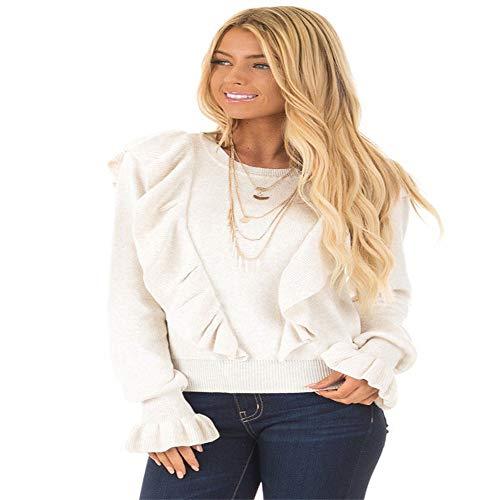 XXOben Frauen - Lässige Sitzende Bluse, Ohr - Pilz Trompete Ärmel - T - Shirt,Weiße,XL