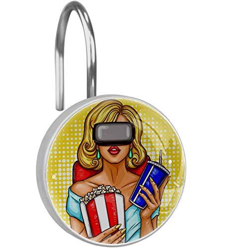 AITAI Ganchos para cortina de ducha, con gafas de realidad virtual, a prueba de óxido, 12 unidades