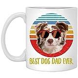 N\A Funny Best Border Collie Blanco Tri Color Dad Ever Sunset Taza de café Retro 11 oz