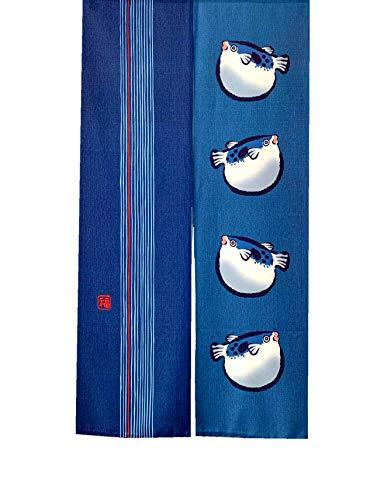 LIGICKY Cortinas de estilo japonés para puerta tradicional Noren tapiz para decoración del hogar, 85 x 149 cm, color azul (pez globo)