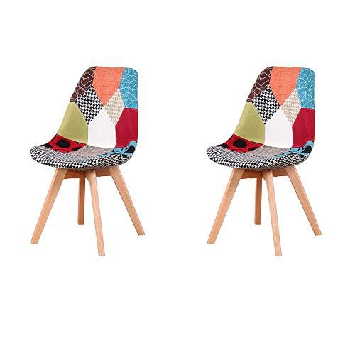 WV LeisureMaster 2er-Set Patchwork-Esszimmerstühle mit Holzbeinen, skandinavischer Lounge-Sessel für Wohnzimmer, Esszimmer, Schlafzimmer, Büro, Rot