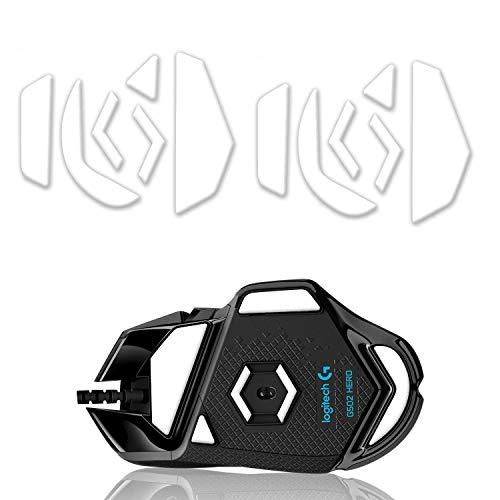 Hyperslides Mausfüße, abgerundete abgerundete Kanten, für Logitech G502 HERO, Proteus Spectrum RGB Gaming-Mausfüße (0,8 mm, Smooth Glide, Pure White PTFE) Pro Performance Upgrade