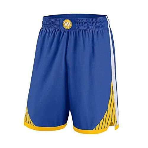 HANJIAJKL Pantalones Cortos de Baloncesto Hombres,NBA Golden State Warriors 30# Stephen Curry,Bordado Transpirable y Resistente al Desgaste Retro Baloncesto Uniformes,Azul,L