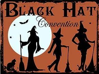 なまけ者雑貨屋 Black Hat Convention ブリキ看板 ビンテージ・スタイル、壁の装飾、家、パブ、ビール、ガレージ、庭、コーヒー