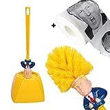 WHCCL Juego de portaescobillas de Inodoro Donald Trump, con depurador de Limpiador de Mango Largo Cepillos de inodoros Modernos de Calidad, Cepillo + portaescobillas + Papel higiénico