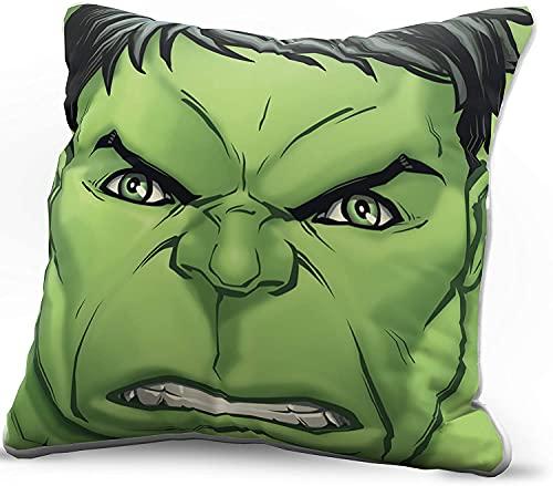 MPY-SEA Funda de cojín The Avengers Green Marvel Superhero Hulk, ideal como regalo, cómoda funda de almohada de alta definición, impresión (Hulk, 40 x 40 cm)